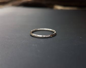 Faceted Hammered Eco Sterling Silver Ring