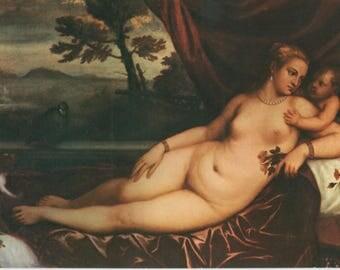 Amore | Venus & Cupid | Reclining Nude | Vintage Italian Art Postcard | Titian | 16th Century Painting | Allegorical Motif |