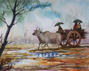 Back to home from work on rainy day - Archival Print from a Watercolor Painting