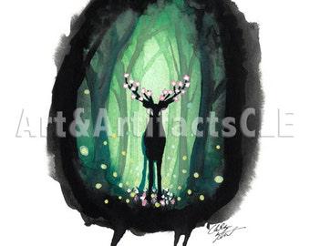 Deer in the Woods Watercolor Print