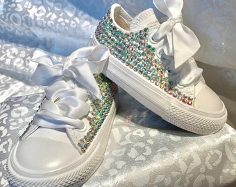 Girls Custom Crystal Converse Infant Sizes 2-10. Various Options available.