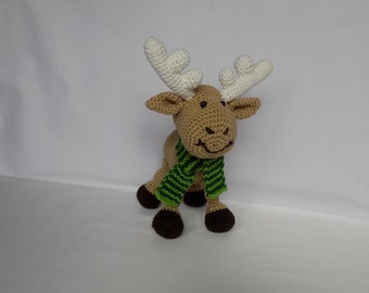 Knitted Soft Toy Deer Plush Deer Stuffed Animal Moose Toy Crochet Deer Toy Christmas Elk Toy Crochet Moose Stuffed Animal Deer Stuffed Deer