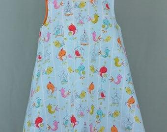 Little girl's summer dress,A-line dress,Blue dress,Bird print dress,Blue and orange dress