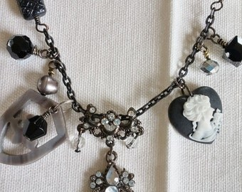 Upcycled Vintage Elements:  Black & Gray Charms Necklace