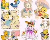 Easter Cuties,  Printable Collage Sheet (digital download, printable)