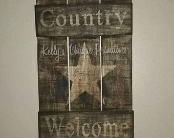 Country Welcome Wooden Shutter Wall Decor Wall Hanging Handmade Country Wooden Decor Farmhouse Decor Primitive Decor Rustic Decor Home Decor