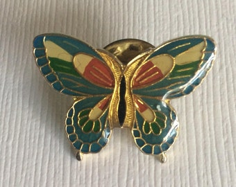 Vintage Green blue red yellow Butterfly Pin lapel pin insect brooch