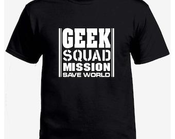 Geek squad mission save world black t-shirt