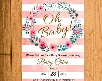 Printable Baby Shower Invitation |  Pink, Printable DIY Invite, Affordable Invitation, Digital Invite, Baby Shower Printable