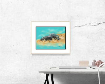Basking Hippos Illustration Painting Drawing Poster Wall Art Decor by ANZ Studio