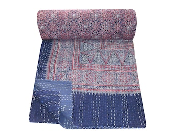 Handmade Indian Cotton Kantha Quilt Hand Block Print Ajrakh Kantha Bed Cover Queen Size Kantha Blanket Hand Stitched Bedspread Picnic Throw