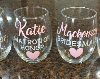 Bridesmaid Glasses, Wine glasses, bridesmaid wine glasses, bridal party wine glasses, wine glass favor, personalized wine glass
