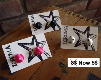 Sale- Polka dot earrings, dots, stud earing, rockabilly,fabric button,summer jewelry