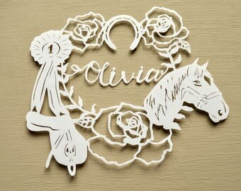 Horse / Riding Handcut Personalised Papercut, Horse rider, Birthday Gift, Present, Handmade Paper cut, Saddle, Rosette, Horseshoe