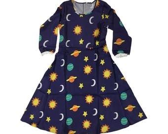 Ms. Frizzle Dress Magic School Bus Costume Teacher Planets Solar System Space Galaxy Miss Mrs 90s Cartoon Halloween Cosplay Women's Adult