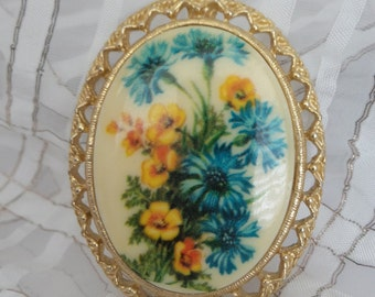 Vintage Blue and Yellow Flower Pendant