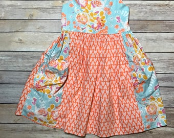 June Pocket Dress, Girls Birthday Dress, Easter Dress, Boutique Dress