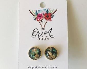 12MM Black Gold Leaf & Opal Flake Earrings
