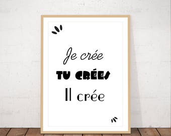 French art, printable art, black and white, typo art, poster, minimalist art, quote, typography, instant download, scandinavian art