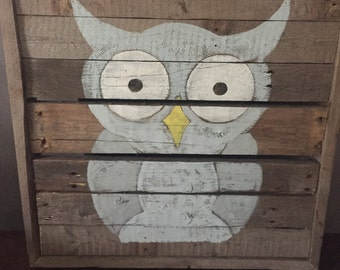 Rustic Owl on Reclaimed Wood