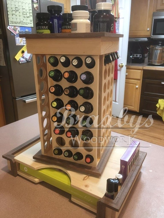 Essential Oil Rotating Organizing Rack With Book Holder