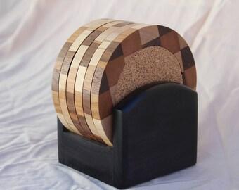 Wood Coaster Set (6 coasters) with Black Base