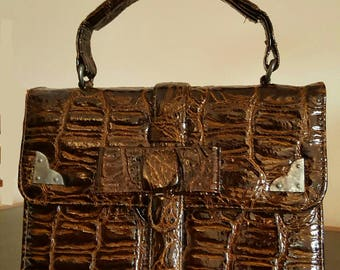 60's Lovely little reptile hand bag with removable  ribbon lock