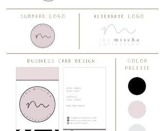 Semi-Custom Branding Package - Modern Branding Kit - Minimal Branding Kit - Premade Branding Package - Logo - Business Cards
