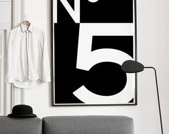 Print / Poster, 'No.5', Wall Art, Modern, Minimal, Wall Decor, Home Decor, Fashion Print, Quote Print, Typography, Coco Chanel