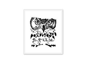 Owl Just Wise Drawing for TShirt Print