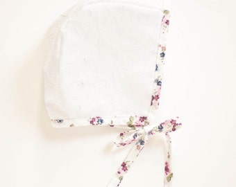 White Bonnet with Floral Trim