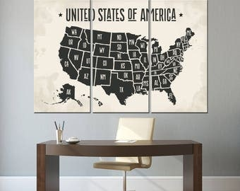 Usa Map Art Etsy - Usa map black