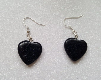 Stunning Sterling Silver Black Sparkly Heart Earrings