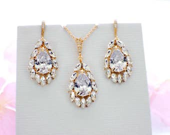 Bridesmaid jewelry gold, crystal necklace set, crystal jewelry set, wedding accessories, bridal jewelry set, wedding jewelry set