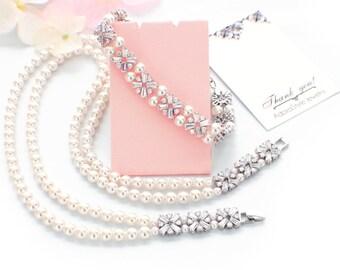 Pearl bridal jewelry, pearl bridal necklace, pearl bridal bracelet, pearl wedding jewelry set, cubic zirconia set, Swarovski pearl, 2 strand