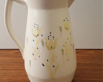 Ceramic Pitcher with Tulip Motif (c. 1980's)