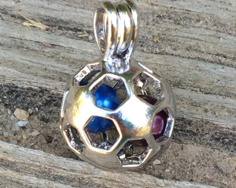 Silver Plated Soccer Ball Pearl Cage Pendant