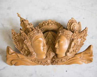 Vintage Handcarved Wood Bali Wall Decor
