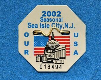 """2002 Canvas Print 14'x14"""" Sea Isle City Beach tag"""