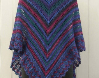 OOAK Hand knitted triangular lace shawl, handmade, unique design