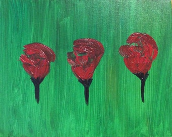 Art gifts - Housewarming gift - Oil Painting - Three roses - Gift idea for her - Gift idea for him