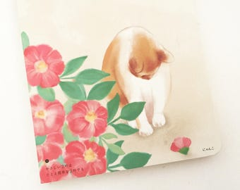 A5 Cat Blank Notebook - Red Floral (80 Sheets x 1 pc) Japanese Stationery Journal Planner Inserts Diary