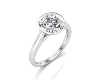 1.50 Carat Round Moissanite Engagement Ring - Forever One Round Moissanite Engagement Ring - Charles & Colvard Round Moissanite Solitaire