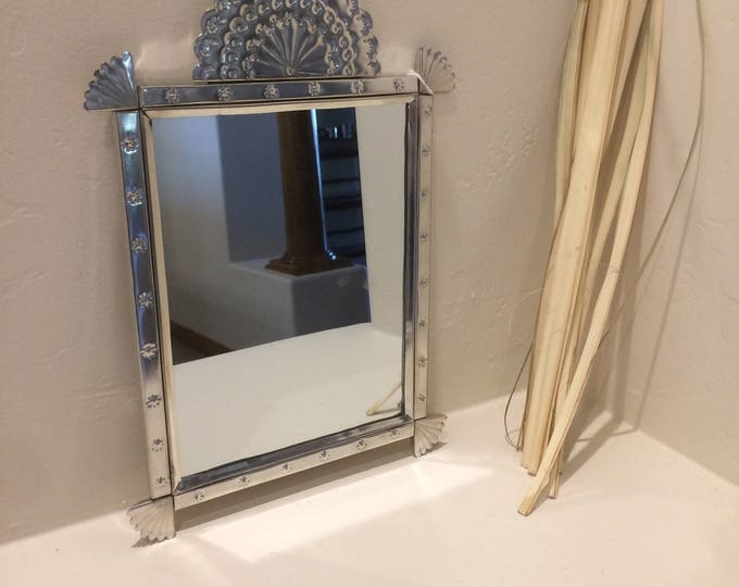 Punched Tin Mirror in Spanish Colonial Style, Handmade