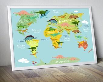 nursery world map nursery map for kids world map for kids kids wall art kids world map dinosaur world map dinosaur poster nursery art