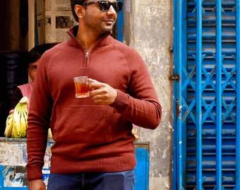 Melange Cotton-blend Mockneck Sweater (Free Shipping)
