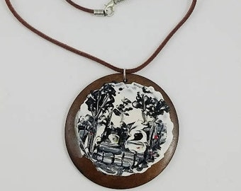 original art work on wood necklase(black and white)