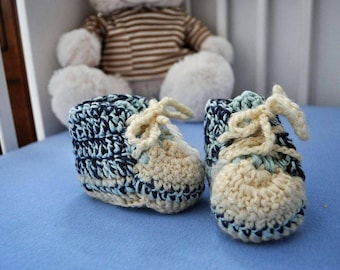 Wool Baby Sneakers - White and Blue