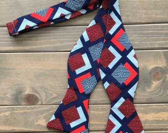 Blue and Red Bow Tie - Mens Formalwear - Wedding Bow Tie - Father's Day Gift - Self Tie