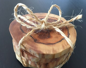 Rustic yew slice drinks coasters
